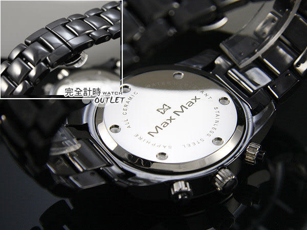 【完全計時】OUTLET手錶館│Max Max 數碼三眼計時 精密陶瓷錶 黑/小 MAS8012-2推薦女錶*
