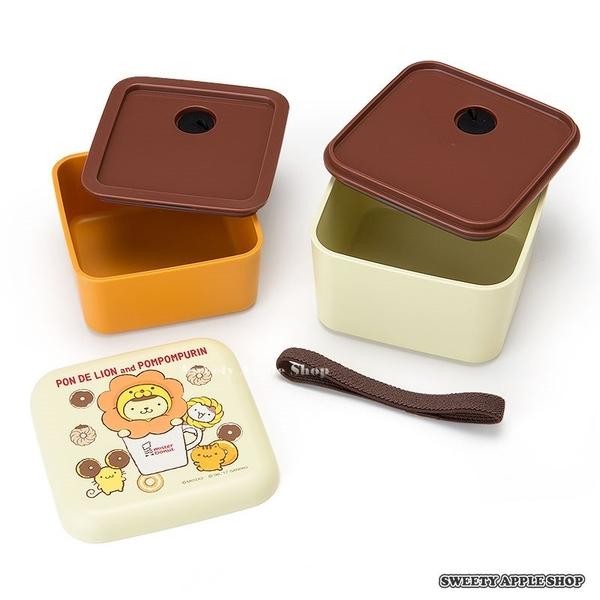 日本限定 日本聯名 mister Donut 波堤獅 x 布丁狗 雙層便當盒 / 餐盒 / 野餐盒