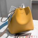 水桶包2021夏季新款水桶包包女氣質時尚韓版ins撞色側背休閒斜背手提包 愛丫