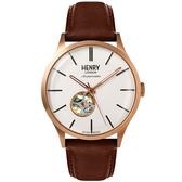 【台南 時代鐘錶 Henry London】英倫復古風潮 經典機械錶 HL42-AS-0276 皮帶 42mm