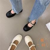 豆豆鞋女夏厚底英倫皮鞋瑪麗珍鞋子珍珠法式單鞋樂福鞋【橘社小鎮】