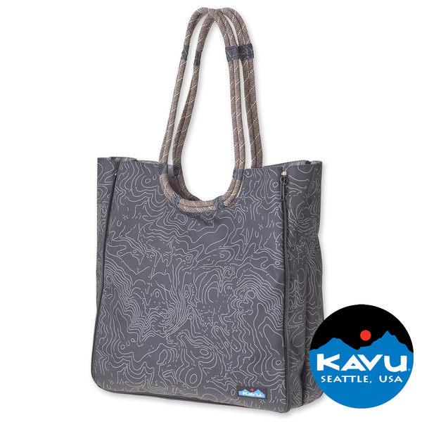 【KAVU】Market Bag 購物休閒四方包 黑色等高線 Black Topo 休閒|旅遊|戶外|肩背包|手提包 K866