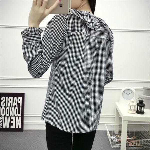 (全館免運)DE SHOP~領格子泡泡荷葉邊長袖襯衫 (T-117)均碼