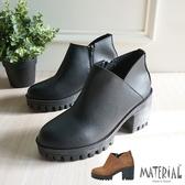 短靴 側V開口厚底短靴 MA女鞋 T3182