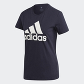 ADIDAS 女裝 短袖 訓練 基本款 LOGO 棉質 深藍【運動世界】GK2513