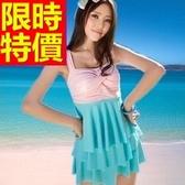 連身泳衣-音樂祭衝浪溫泉必備比基尼蛋糕裙泳裝3色54g141【時尚巴黎】