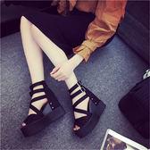 厚底涼鞋  厚底內增高涼鞋女夏季底坡跟魚嘴女鞋子防水臺高跟鞋