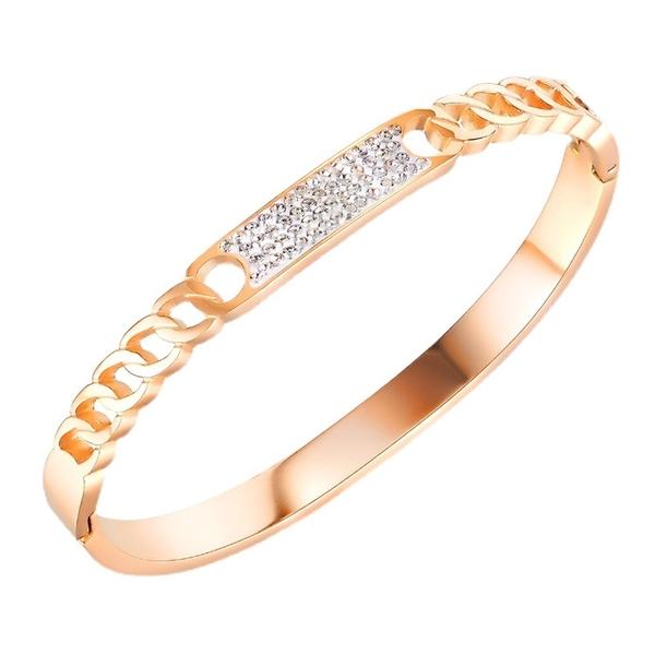 鈦鋼手環 時尚設計鑲鑽手環