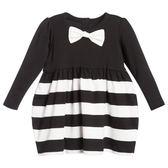 花童禮服洋裝The Tiny Universe 黑白條紋可拆式蝴蝶結長袖洋裝00202