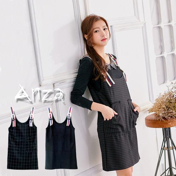 【AnZa】經典美式紅藍金屬釦吊帶裙