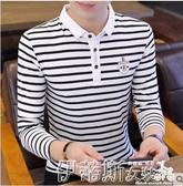 polo衫夏季新款男士短袖T恤韓版條紋丅恤POLO衫上衣服潮流長袖體恤 春季特賣