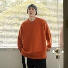 男士毛衣 毛衣男士秋冬厚款潮流寬鬆純色針織衫正韓復古圓領上衣【快速出貨】
