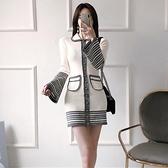 歐媛韓版 長袖洋裝 秋冬新款優雅翻領條紋拼接喇叭袖單排扣針織打底連身裙女