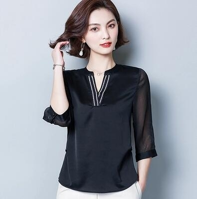XL-4XL胖妹妹大碼短T~V領上衣釘珠洋氣小衫襯衫 5209.FFA010A愛尚布衣