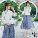 兩件套漢服原創女文藝復古繡花盤扣上衣雪紡碎花半身裙套 父親節降價