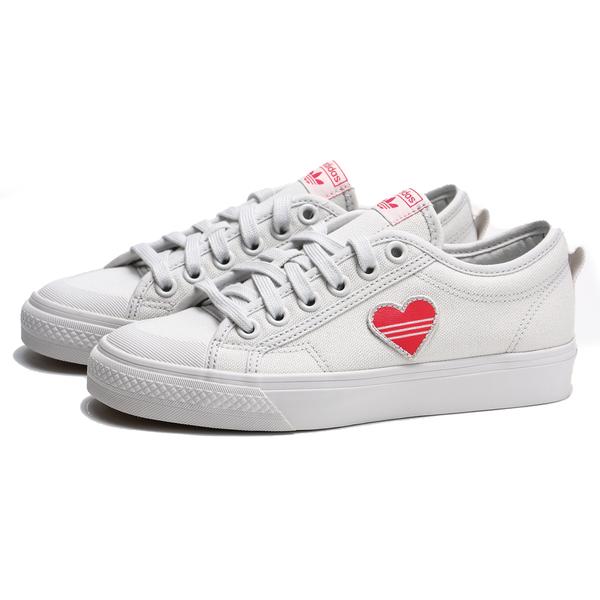 ADIDAS ORIGINALS NIZZA 粉橘愛心 小白鞋 帆布鞋 情人節 休閒鞋 女 (布魯克林) EF5074