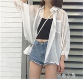 夏季女裝韓國bf原宿風寬鬆百搭雪紡衫開衫外搭外套女蝙蝠袖防曬衣      芊惠衣屋