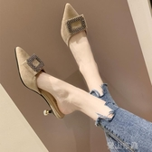 半拖鞋涼拖鞋女夏外穿時尚尖頭方扣網紅細跟懶人半拖鞋女包頭高跟穆勒鞋  全館免運