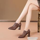 百搭皮鞋2020春秋季新款尖頭深口單鞋女粗跟高跟鞋女  聖誕節免運