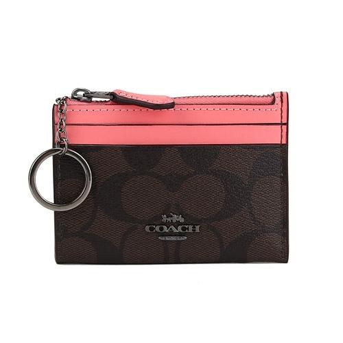 COACH PVC LOGO拉鍊證件零錢鑰匙包(咖啡/亮粉紅)