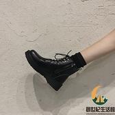 加絨瘦瘦靴短靴馬丁靴女英倫風百搭秋冬【創世紀生活館】