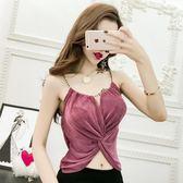夏季女裝韓版時尚露背金屬抽褶修身顯瘦露肩吊帶露臍背心外穿上衣