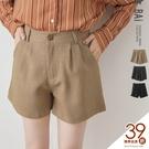 短褲 素色打褶金屬單釦類西裝短褲S-L號...