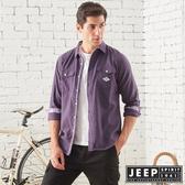 【JEEP】保暖厚棉長袖襯衫 (深紫)