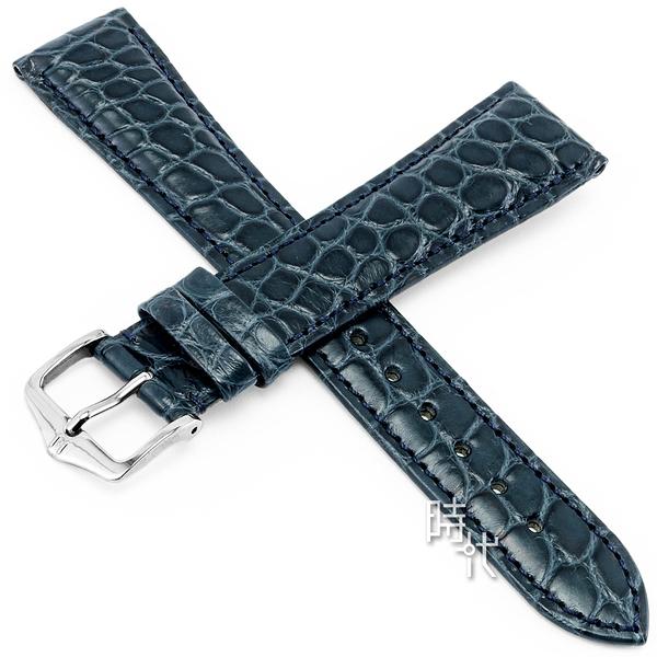 【台南 時代鐘錶 海奕施 HIRSCH】鱷魚皮錶帶 Regent L  亞光藍色 附工具 04107089 經典 鱷魚皮