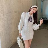 長袖洋裝 針織毛衣連身裙打底裙女秋冬新款短裙復古氣質收腰長袖裙子-Ballet朵朵