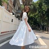 夏季新款復古山本泡泡袖小清新中長款交叉繫帶禮服洋裝子女 居家物語