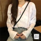 長袖T恤 白色t恤女短款秋季新款韓版百搭寬鬆上衣v領長袖流行打底衫潮-10週年慶