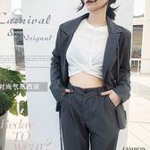 個性西服西裝兩件套 OL美學雙排釦外套+修身九分褲套裝 艾爾莎【THB6996】