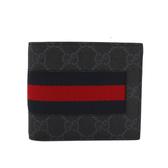 【GUCCI】藍紅織帶PVC LOGO二折零錢袋對開短夾(深灰)408826 KHN4N 1095