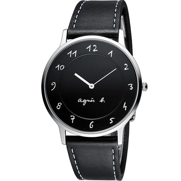 agnes b.法式優雅手寫體時標時尚腕錶 BJ5005X1 VJ20-K240Z