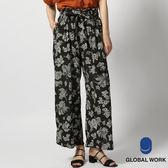 GLOBAL WORK女印花滿版鬆緊蝴蝶結綁帶寬褲長褲-二色