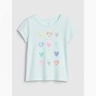 Gap女幼童趣印花圓領短袖T恤538964-心形圖案