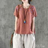 棉麻短袖 盤扣繡花亞麻上衣女夏裝棉麻料文藝刺繡寬鬆短袖T恤 coco衣巷