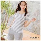 Catworld 粉嫩條紋。居家短袖BRA睡衣兩件組【16600321】‧M/L/XL