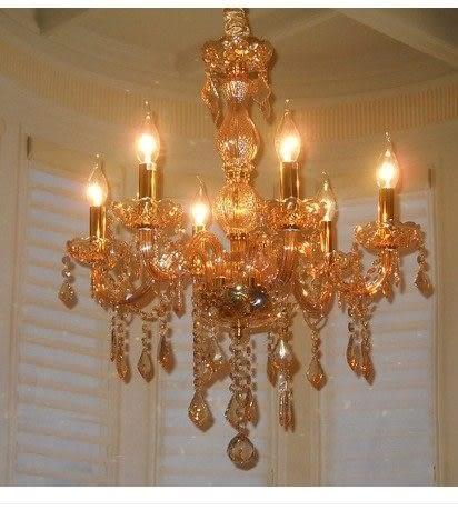 設計師美術精品館蠟燭水晶吊燈琥珀色6頭 歐式簡約現代家居餐廳水晶燈