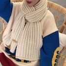 圍巾 韓版純色圍巾女冬季ins原宿風粗毛線針織百搭加厚保暖圍脖學生潮【快速出貨八折下殺】