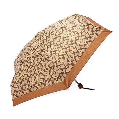 COACH 經典滿版LOGO自動晴雨傘(咖啡色)193717-1