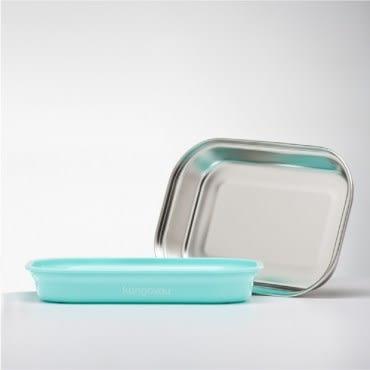 美國 Kangovou小袋鼠不鏽鋼安全平板餐盤-薄荷綠