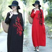 秋冬新款民族風圓領套頭長袖提花繡花大尺碼高腰顯瘦連衣裙女洋裝