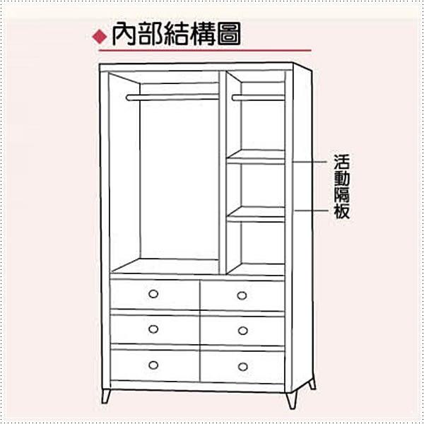 【水晶晶家具/傢俱首選】ZX9338-3柏克120*195cm鋼刷耐磨木心板六抽衣櫃