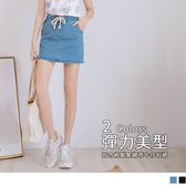 《CA1671-》高含棉竹節紋理鬆緊綁帶牛仔短裙(褲型內裡) OB嚴選
