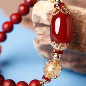 鳳凰涅磐水晶紅瑪瑙手鍊女 民族風復古首飾生日禮物小葉紫檀手串