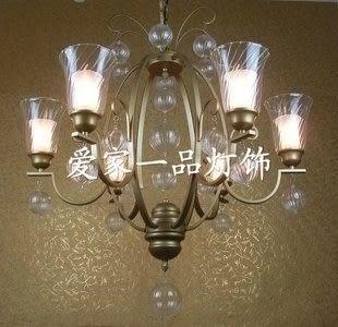 設計師美術精品館別墅高檔水晶吊燈 歐式鐵藝6頭吊燈 時尚客廳/臥室吊燈 燈飾燈具