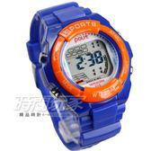 Polit 休閒造型多功能運動電子錶 女錶 冷光照明 防水手錶 兒童錶 學生錶 P610橘藍