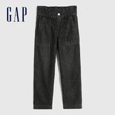 Gap女童 舒適荷葉邊鬆緊牛仔褲 609848-水洗黑